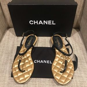 NIB Chanel Gold Logo Quilted Sandals, SZ 37